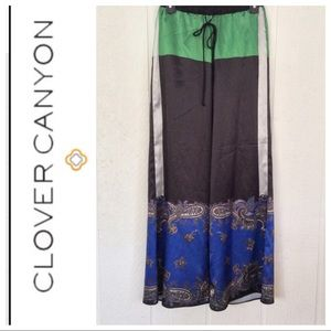 CLOVER CANYON SILK PALAZZO PANTS SMALL